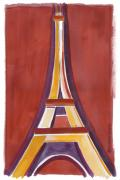 Rust Paintings - Rust Yellow Eiffel Tower by Robyn Saunders