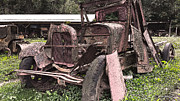 Rusted Cars Framed Prints - Rusted Pickup in Pieces Framed Print by Michael Spano
