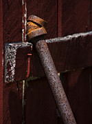 Parallel Lines Prints - Rusted Pipe and Red Barn Print by Rebecca Sherman