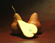 Stylized Food Posters - Rustic Amber California Bosc Pears Poster by Inspired Nature Photography By Shelley Myke