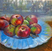 Outdoor Still Life Paintings - Rustic Apples by Donna Shortt