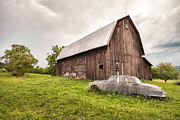 Old Barns Photo Prints - Rustic Art - Old Car and Barn Print by Gary Heller