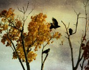 Crows In Trees Posters - Rustic Autumn Crows Poster by Gothicolors And Crows