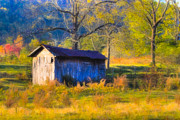 Shed Digital Art Framed Prints - Rustic Autumn Landscape in North Georgia Framed Print by Mark E Tisdale
