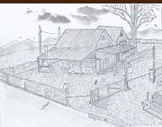 Old Barn Drawing Drawings - Rustic Barn Home 2 inch Micro by Gerald Griffin