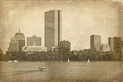 Charles River Mixed Media Metal Prints - Rustic Boston Metal Print by Jayne Carney