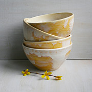 Rustic Ceramics - Rustic Bowls in Creamy White and Gold Glaze Handmade Pottery Bowls Set of Four by Sheila Corbitt