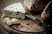 Blue Cheese Posters - Rustic Bread and Cheese Poster by Christopher and Amanda Elwell