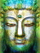 Statue Portrait Mixed Media Prints - Rustic Buddha Print by Khalil Houri