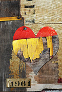 Industrial Mixed Media Posters - Rustic Burlap Vintage Heart Poster by Anahi DeCanio