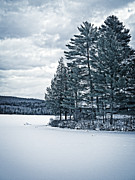 Cold Metal Prints - Rustic Cabin on the Pond Metal Print by Edward Fielding