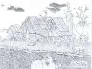 Old Barn Drawing Drawings - Rustic Cabin Royal Arkansas by Gerald Griffin