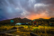 Americana Landscape Prints - Rustic California Lumber mill at Sunset Print by Scott McGuire