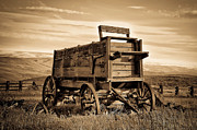 Horse And Cart Posters - Rustic Covered Wagon Poster by Athena Mckinzie