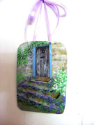 Fathers Sculptures - Rustic door and Violet filled steps by Sandra Oropeza