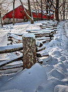Winter Scenes Rural Scenes Prints - Rustic fence to Maple Hill Farm - Roxbury Ct Print by Thomas Schoeller