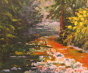Beautiful Creek Painting Originals - Rustic Gold by Kristos Raftopoulos