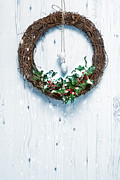 Christmas Natural Posters - Rustic Holiday Garland Poster by Christopher and Amanda Elwell