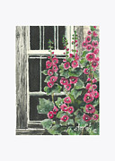 Holly Hocks Paintings - Rustic Hollyhocks by Corie Farley