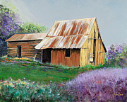 Pasture Scenes Painting Framed Prints - Rustic in the Lilacs Framed Print by Reba Brew