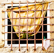 Curtains Framed Prints - Rustic Italian Window Framed Print by Susan  Schmitz