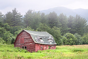 Red Barns Photos - Rustic Landscape - Red Barn - Old barn and mountains by Gary Heller