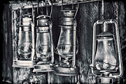 Gas Lamps Prints - Rustic Lanterns Print by Kelley King