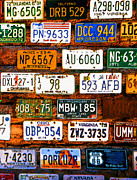 License Plates Prints - Rustic License Plates - 2 Print by Linda  Parker