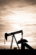 Oil Drilling Posters - Rustic Oil Well Pump Vertical Sepia Poster by James Bo Insogna
