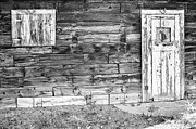 Mining Town Prints - Rustic Old Colorado Barn Door and Window BW Print by James Bo Insogna