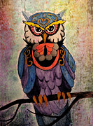 Catherine Mixed Media Prints - Rustic Owl Print by Catherine Harms