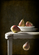 Dark Background Prints - Rustic Pears Print by Christopher and Amanda Elwell