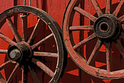 Machinery Originals - Rustic Red Wagon Wheels by Alison Gunn