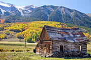 Autumn Landscape Metal Prints - Rustic Rural Colorado Cabin Autumn Landscape Metal Print by James Bo Insogna