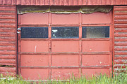 Red Barn Prints Framed Prints - Rustic Rural Red Garage Door Framed Print by James Bo Insogna