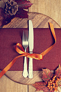 Ribbon Posters - Rustic Table Setting For Autumn Poster by Christopher and Amanda Elwell