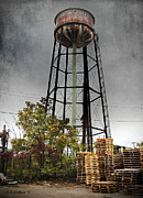 Pallet Digital Art Framed Prints - Rustic Water Tower Framed Print by Brian Wallace