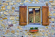 Weathered Shutters Framed Prints - Rustic Window on a Stone Wall in a Small Village in Tuscany Framed Print by David Letts
