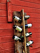 Railroad Spikes Art - Rustic Wine Rack by Jean Goodwin Brooks