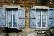 Provence Village Framed Prints - Rustic Wooden Window Shutters Framed Print by Georgia Fowler