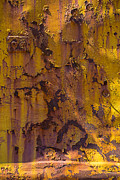 Peeling Paint Prints - Rusting yellow metal Print by Garry Gay