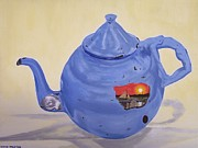 Teapot Paintings - Rusty blue teapot by Kevin Martin