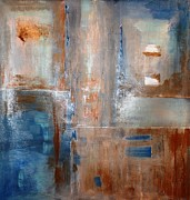 Moody Paintings - Rusty Blue by Tia Marie McDermid