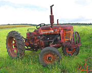 Farm Pyrography Prints - Rusty Deere Print by Barry Cleveland