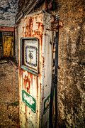 Yellow  Digital Art Posters - Rusty Gas Pump Poster by Adrian Evans