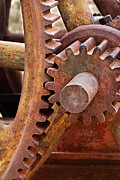 Meshed Gears Framed Prints - Rusty Metal Gears Framed Print by Phyllis Denton