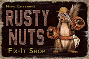 Hunting Cabin Framed Prints - Rusty Nuts Framed Print by JQ Licensing