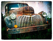 American Car Posters - Rusty Old Chevy Pickup Poster by Edward Fielding