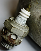 Electric Current Prints - Rusty Old Spark Plug  5  Print by Wilma  Birdwell