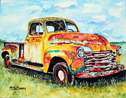Rusty Truck Paintings - Rusty Old Truck by Maria Barry
